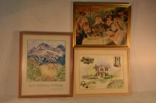 Two framed prints and one watercolor by Rita Cooper