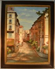 Continental street scene, oil on canvas by Henry Miller, 45