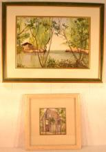 Two framed watercolors on paper, low country scenes by Jane Hack, largest 27