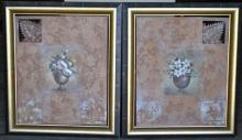 Pair of large mixed media framed works of art