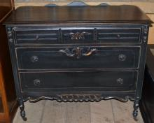 Mahogany art deco three drawer dresser