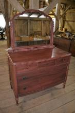 Painted five drawer dresser with mirror, as is