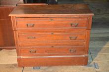 Victorian walnut three drawer dresser