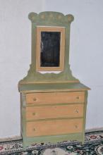 Bagby Furniture Co. Baltimore painted three drawer dresser w/mirror