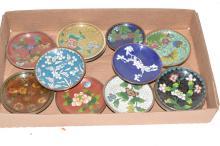 Asian cloisonné small circular trays