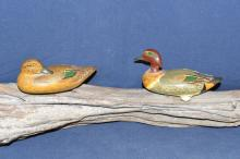 Miniature greenwing teal pair painted by Clarence Bauer, mounted on driftwood