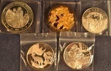 Five sterling silver commemorative medallions:  WWI, South Carolina, OK Corral, etc.; 4.46 ozt