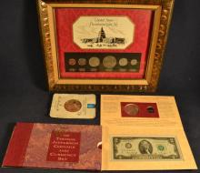 Lot: US Thomas Jefferson Coin & Currency Set; US Presidential Coin Set; Danbury Mint 1.3ozt medallion