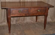 19th C American country two drawer work table, brass pulls