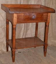 19th C American walnut single drawer galleried work table with shelf stretcher