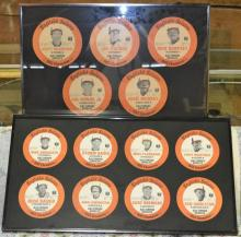 Two framed collections of English's Restaurant 1983 Orioles memorabilia