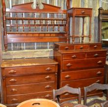 Pennsylvania House solid cherry bedroom suite: dresser, tall chest, double bed, night stand