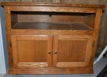 Oak two door utility cabinet