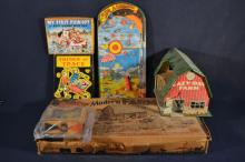 Collection of children's toys including Louis Marx & Co. Modern Farm Set with metal barn