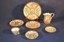 Seven pieces of Chinese Rose Medallion porcelain table wares, 5.5