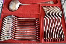 CHRISTOFLE, ménagère en métal argenté, modèle uniplat,  mono