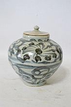 Pot couvert en porcelaine blanc bleu, h 22cm