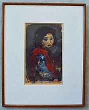 Vasyl KHMELUK (1903-1986)  Portrait de jeune fille. Gouache sur papier. 30x18 cm