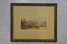Eugène CICÉRI (1813-1890) la calèche , aquarelle sur papier signée 9,5 x 14,5 cm 1869