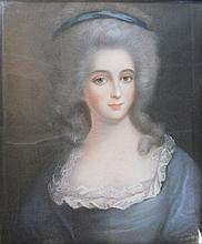 Ecole française, Portrait de jeune femme   XVIIIème, pastel