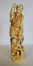 Japon, Meiji XIXème,   Okimono en ivoire repré