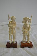JAPON   époque Meiji deux ivoire représentant