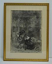 Albert BESNARD (1849-1934),  Scène romantique,