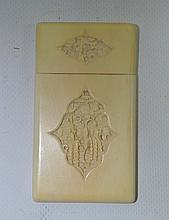 Japon epoque MEIJI  Porte carte en ivoire XIX