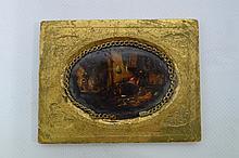 Miniature sur verre scene de taverne 4,5 x 6,5 cm