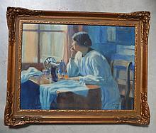 VANDELEENE Jules (1887-1962) La couturière Pastel