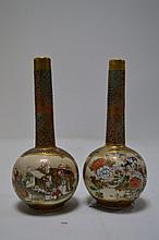 JAPON   Paire vases soliflore en satsuma  12,4
