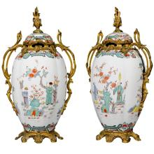A pair of ormolu mounted Samson porcelain Chinoiserie vases