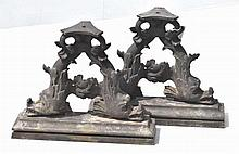 Pair Iron Fish Architectural Elements