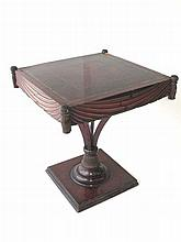 Leather Top Pedestal Side Table