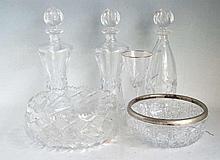 6 Pcs Crystal Decanters, Bowls, Stemware