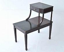 Leather Top Step Side Table
