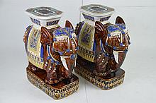 Pair of Ceramic Elephant Garden Stools