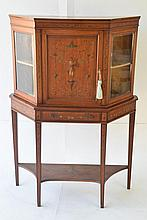 English Satinwood Vitrine Cabinet
