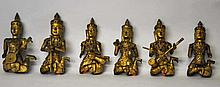 Six Carved Gilt Wood Asian Musicians