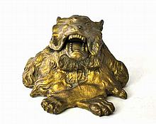 Gilt Bronze Lion Inkwell