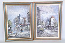 Pair Oil on Canvas Parisian Street Scene