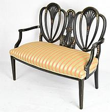 Hepplewhite Style Black Lacquer Settee