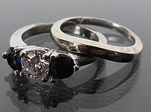 Sapphires & Diamond 14K White Gold Ring Bridal Set