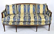 Antique Louis XVI Style Silk Upholstered Sofa