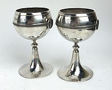 Pr Gorham Classical Medallion Coin Silver Goblets