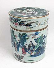Large Porcelain Famille Verte Tea Canister