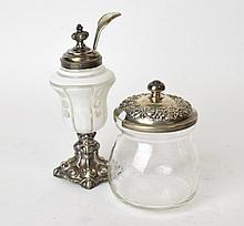 Two Sterling Lidded Jam Jars