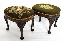Pair Victorian Carved, Needlepoint Stools