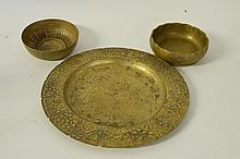 Group 3 Tiffany Studios Bronze Bowls, Charger