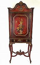 Red Painted Oriental Cabinet on Stand